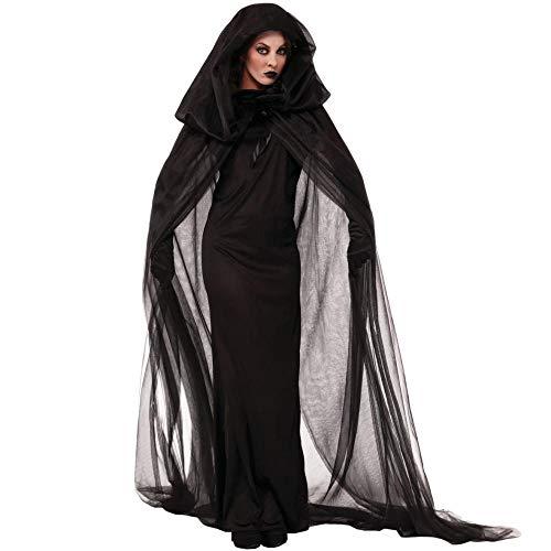 Braut Schwarz Kostüm - JRKJ Halloween Hexenkostüm Vampir Braut Cosplay Schwarze Witwe Frauen Kostüm @ L