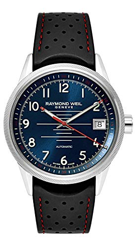 Raymond Weil Freelancer Stainless Steel Analog Blue Dial Automatic Black Perforated Rubber Strap Mens Sports Watch 2754-SR-05500