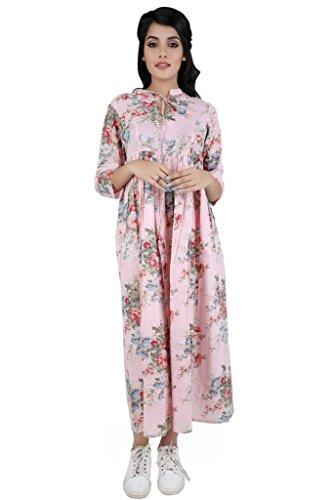 ANAYNA Women's Cotton Floral Printed Long Maternity Dress(Pink,XXL)