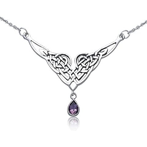 Bling Jewelry Celtic Knot 925 Collana Argento Natural Ametista Teardrop - Ametista Celtic Knot