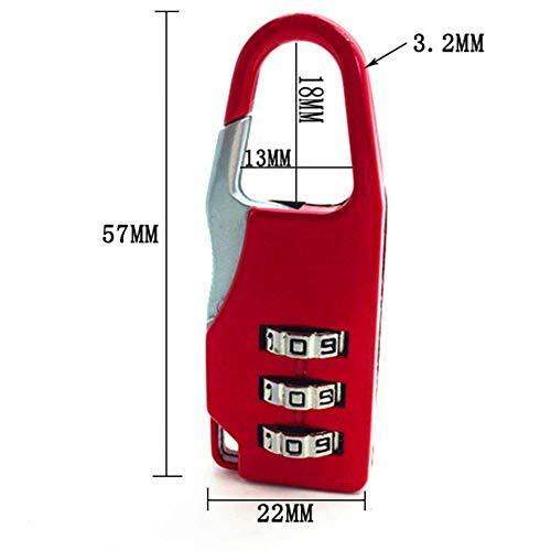BAWANG 3 Mini Dial Digit Nummer Code Passwort Kombination Vorhängeschloss Sicherheit Travel Safe Lock für Vorhängeschloss Gepäckschloss der Turnhalle -