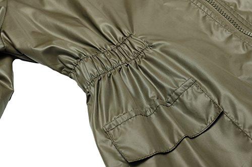 CRAVOG Mode Femme Imperméable A Capuche Imprimé Points Manteau De Pluie Femme Jacket Longue Raincoat Queue De Poisson Vert d'armée