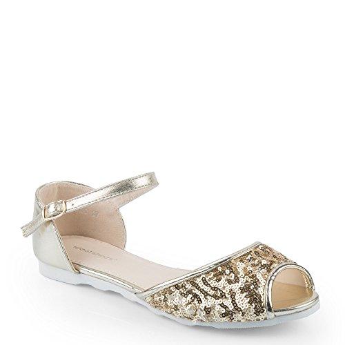 Ideal Shoes - Sandales à bout ouvert décorées de sequins Viviane Doree