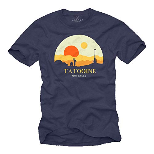 MAKAYA Herren T-Shirt mit Aufdruck Kurzarm Rundhals- Ausschnitt - Motiv Mos Eisley Tatooine Death Star dunkelblau Größe L