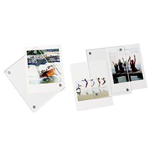jxe Acryl klar Magnetische Kühlschrank Bilderrahmen für Fujifilm Instax quadratisch SQ10Filme (Pack von 2) (Magnetische Bilderrahmen Klare)