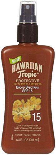 Hawaiian Tropic Sunscreen Protective Tanning Broad Spectrum Sun Care Sunscreen Spray Lotion - SPF 15, 6.8 Ounce by Hawaiian Tropic