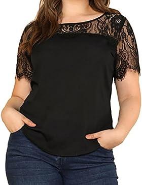 FAMILIZO Camisetas Mujer Tallas Grandes ❤️XL~5XL Camisetas Encaje Mujer Verano Blusa Mujer Elegante Camisetas...
