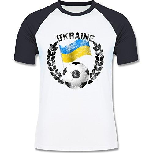 EM 2016 - Frankreich - Ukraine Flagge & Fußball Vintage - zweifarbiges Baseballshirt für Männer Weiß/Navy Blau
