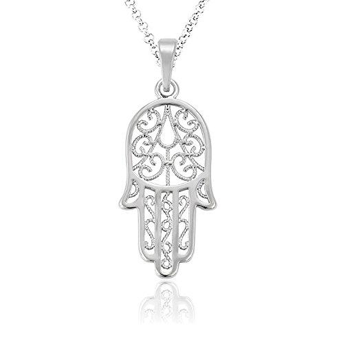 Akki Fatima hand Kette Schmuck Silber blume Halskette mit Swarovski Kristall Halskette Frauen Geschenke Liebe-Familien-hamza mit kette AKCH009 (Bilder Der 70er Jahre Outfits)
