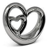 FeinKnick Stilvolles Doppel- Herz zur Dekoration - modernes Dekoherz 21 cm groß in Silber - Deko in Herzform gut als Geschenk-Idee zum Muttertag geeignet - 6