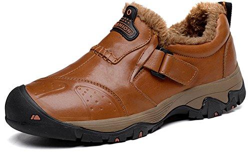 HENGJIA Herren Rindleder Wanderschuhe Outdoor Halbschuh Sportschuhe Sneaker Bergschuhe Rotbraun mit Fleece