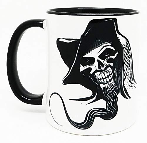 (Half a Donkey Skull Face Mug with glazed black handle and inner)