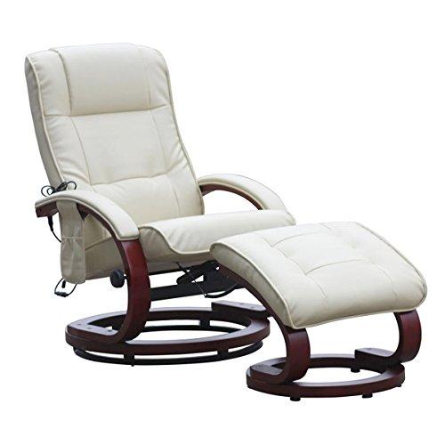 Mendler Massage-Fernsehsessel Pescatori II, Relaxsessel Massagesessel, Massagefunktion ~ weiß/Creme