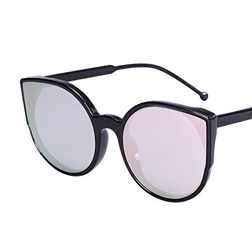 LXKMTYJ Sepia Cat's Eye Sonnenbrille Cat Ear runde Sonnenbrille Ebene bunte Sonnenbrille, Champagner, Rosa