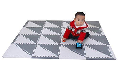 meiqicool - Alfombra puzzle infantil para bebés de Foam (EVA), suelo extra acolchado para niños,Alfombras de Juegos Infantiles con Valla-Alfombra triangular Gris y blanco 050HUI