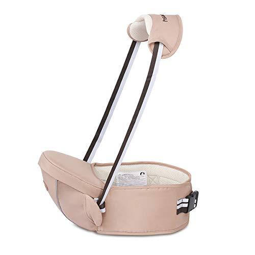 SONARIN Multifuncional Hipseat Baby Carrier,Portador de bebé,Tamaño Gratuito, asiento de asiento para niños pequeños,Cinturón Frontal,4 Posiciones de Carrying,Regalo Ideal(Marrón Claro)