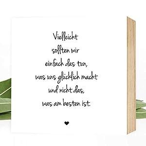 Wunderpixel® Holzbild Weg zum Glück ★ Lebensweisheit - 15x15x2cm zum Hinstellen/Aufhängen, echter Fotodruck mit Spruch auf Holz - schwarz-weißes Wand-Bild Aufsteller zur Dekoration oder Geschenk