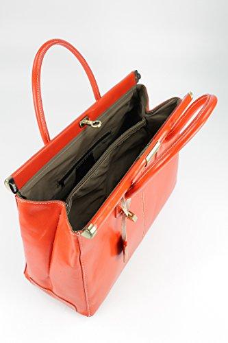 "Belli® ""The Bag XXL italiana. Premium Borsa in pelle borsa–�?8x 26x 18cm (B x H x T) Orange"