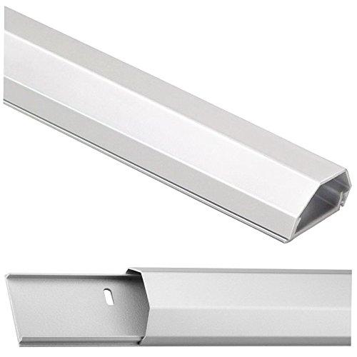 Alu Kabelkanal silber; 110 cm | 5 cm breit | 2,6 cm hoch; 2-teilig (Bodenplatte und Deckel); inkl. Montagematerial; für LCD,LED,Plasma TV's; Aluminium in perfekter Optik, abgestimmt auf hochwertiges Equipment