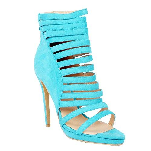 Kolnoo Femmes Handmade 12cm haut talon creux style zipper soir soirée sandales chaussures blue