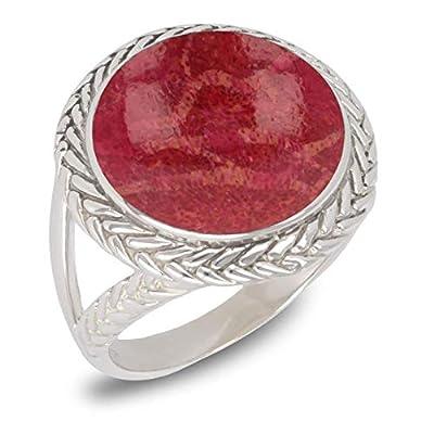 Idée Cadeau FemmeCadeau bijoux-Bague-Corail rouge-Argent massif-Femme
