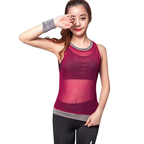 Vertvie Femme Débardeur en Maille Top Tank Mesh Net sans Manches Gilets de Sport Col Rond pour Yoga Jogging Rouge