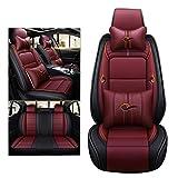 ADHW Luxus Sitzbezüge Auto,Leder für Auto Schonbezüge Sitzbezug 5-Sitze, 9 Stück (Farbe : Red)