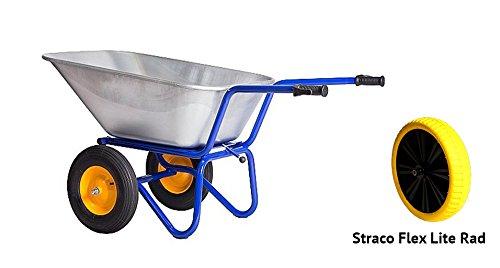 Kelberg 2-Rad kipp Schubkarre AGRO 200L Starco Flex Garten-Bau-Hof verzinkter Stahlwanne und Feuerverzinkter Stahlrohrrahmen kippbar