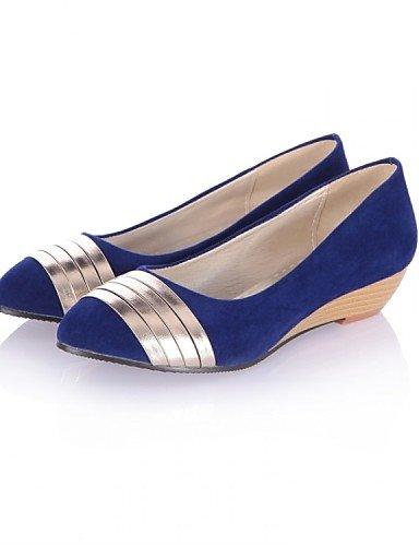 ZQ Scarpe Donna - Ballerine - Ufficio e lavoro / Formale / Casual - Zeppe / Comoda - Zeppa - Felpato - Nero / Blu / Verde , blue-us8 / eu39 / uk6 / cn39 , blue-us8 / eu39 / uk6 / cn39 blue-us5.5 / eu36 / uk3.5 / cn35