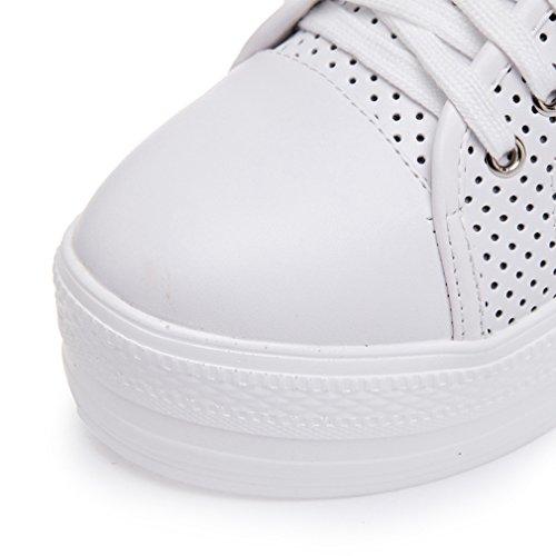 JRenok Chaussure Mode Basket Haut Tige Chaussure de Sport Pour Femme Cuir au Printemps Semelle Compensée Sneakers au Loisir Blanc