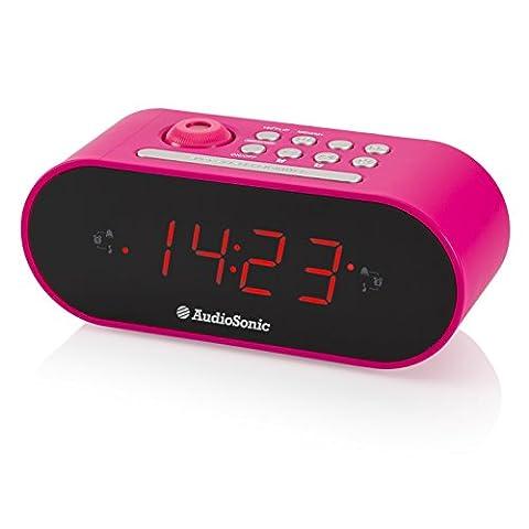 AudioSonic CL-1497 Uhrenradio/Radiowecker Projektion Helligkeitsregler rosa