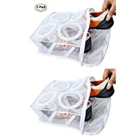 Rubik 2 Pack Sneaker Dryer & Wash Bag With Strap for Shoes Washing, Mesh Laundry Bag, Mesh Shoe Washing Bag with Zipper for Men & Women, White