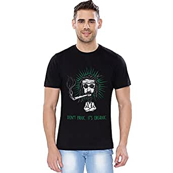The Souled Store Unisex Cotton It's Organic Glow in Dark Alcohol Printed T-Shirt (Black, Large)