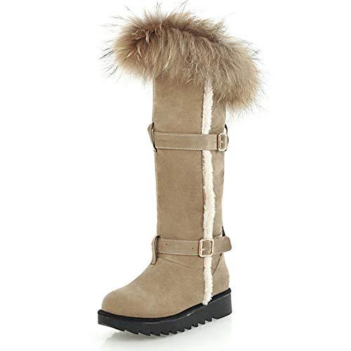 HOESCZS Neue Große Größe 34-45 Low Heels Schuhe Frau Heißer Hinzufügen Pelz warme plüsch Winterstiefel Frau Schuhe Frauen Schnee Stiefel,Beige,36 -