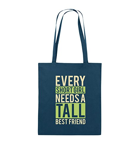 Comedy Bags - Every short girl needs a tall best friend - Jutebeutel - lange Henkel - 38x42cm - Farbe: Schwarz / Weiss-Neongrün Navy / Beige-Hellgrün