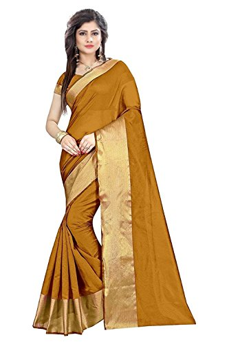 Fabdiamond Georgette Saree With Blouse Piece (Yellow_Free Size)