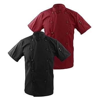Fenteer 2pcs Cuoco Abbigliamento da Lavoro Divise Ristorazione Camicie Giacche da Chef 2XL