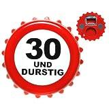 Udo Schmidt 30. Geburtstag Flaschenöffner Kronkorken Geschenkidee Weiss-rot 8cm Einheitsgröße