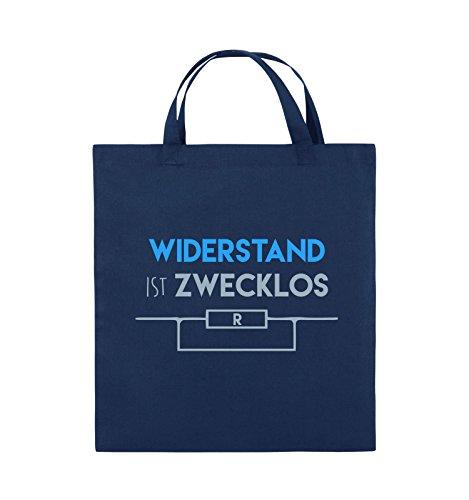 Comedy Bags - Widerstand ist zwecklos - Jutebeutel - kurze Henkel - 38x42cm - Farbe: Schwarz / Weiss-Neongrün Navy / Eisblau-Hellblau