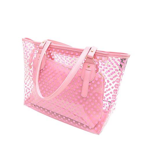 OULII Clear Zippered Tote Tasche Dots Frauen Transparente Handtasche mit Innen Tasche Tasche (Pink) (Zippered Tote Handtasche)