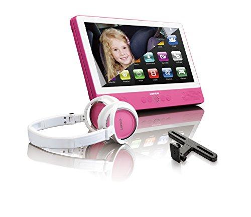 Lenco Tragbarer dvd-player TDV-901 mit Tablet-Funktion, Android 7.0 - WIFI - USB, 2 Volt Kfz Adapter, Kopfhörer, Kopfstützenhalter (Spange), pink