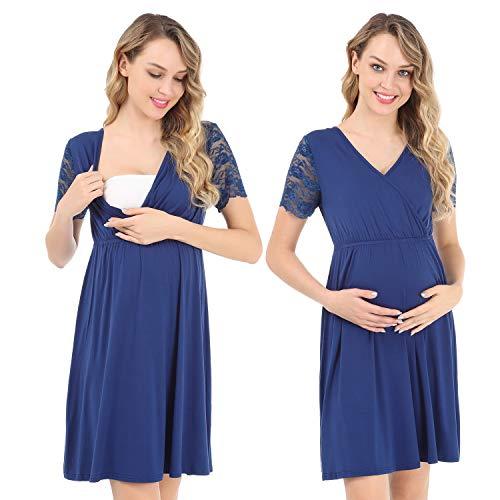 Pasithea Abito da maternità Feinile di Infermieristico Camicia da Notte Gravidanza Allattamento al Seno Camicia da Notte Plus Size Blu Scuro XL