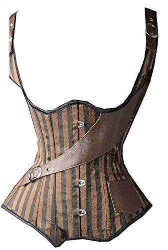 MISS MOLY Damen Vintage Brokat Unterbrust Taillen Korsett Stahl Ohne Knochen Corsage, Größe 2XL, Farbe Braun