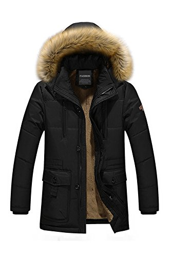 Menschwear Herren Winter Warme Jacke Daunenjacke Kapuze schlanke PassformKapuze schlanke Passformmit abnehmbarem Pelzkragenskapuze schlanke Passform Daunen Jacke Schwarz