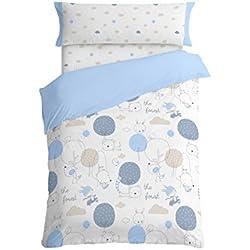 Burrito Blanco Juego de Funda Nórdica Infantil 005 Algodón 100% para Cama de 90 x 190 cm hasta 90 x 200 cm Diseño de Animales, Azul
