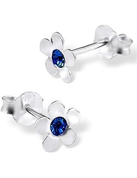 Ein Paar Kleine Blüten Ohrstecker aus Sterling Silber mit Dunkel Blauen Kristall Steinen (6 mm x 6 mm) Inklusive...