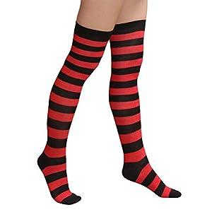 BESTOYARD 1 Paar Streifen Kniestrümpfe Overknees Strümpfe Rote und Schwarz Strumpfhosen Weihnachten Kostüm Cosplay Socken für Frauen Mädchen