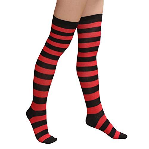 BESTOYARD Medias rayas rojas negras navidad calcetines