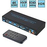 FiveHome 4K@60Hz HDMI Audio estrattore 3X1 commutatore HDMI con ARC,SPDIF e LR