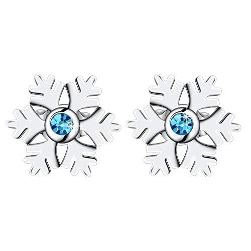 Ohrringe Damen, Amilril Snowflake Ohrschmuck Ohrstecker 925 Sterling Silber Blau Zirkonia, Kommt in Geschenkbox, Weihnachtsgeschenke Schmuck